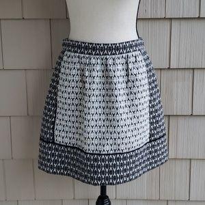 J. CREW black white knit geometric A-line skirt 4